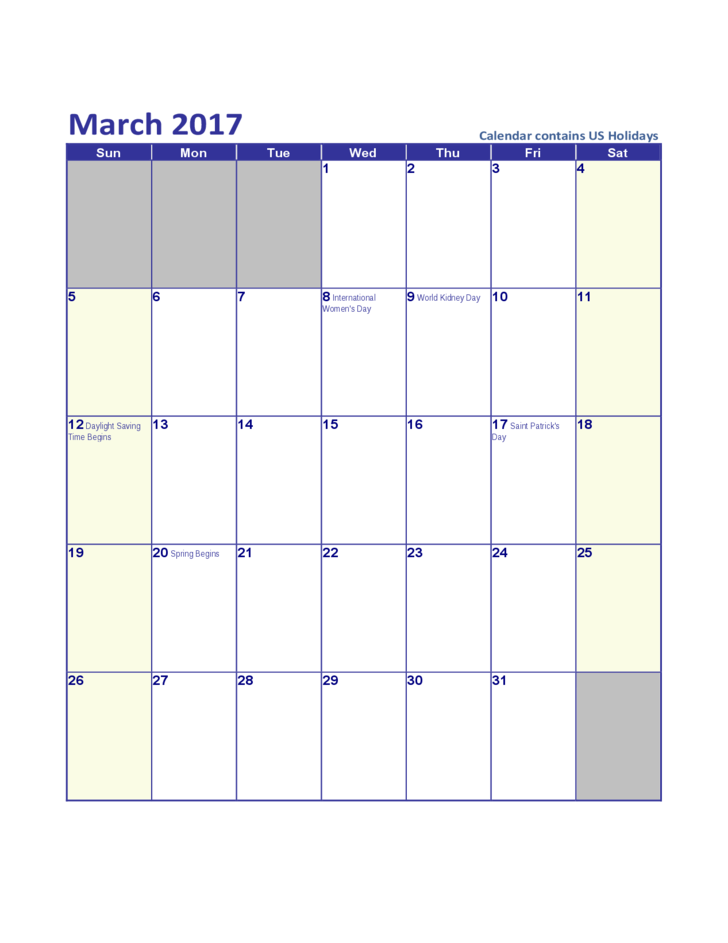 March 2017 US Calendar with Holidays