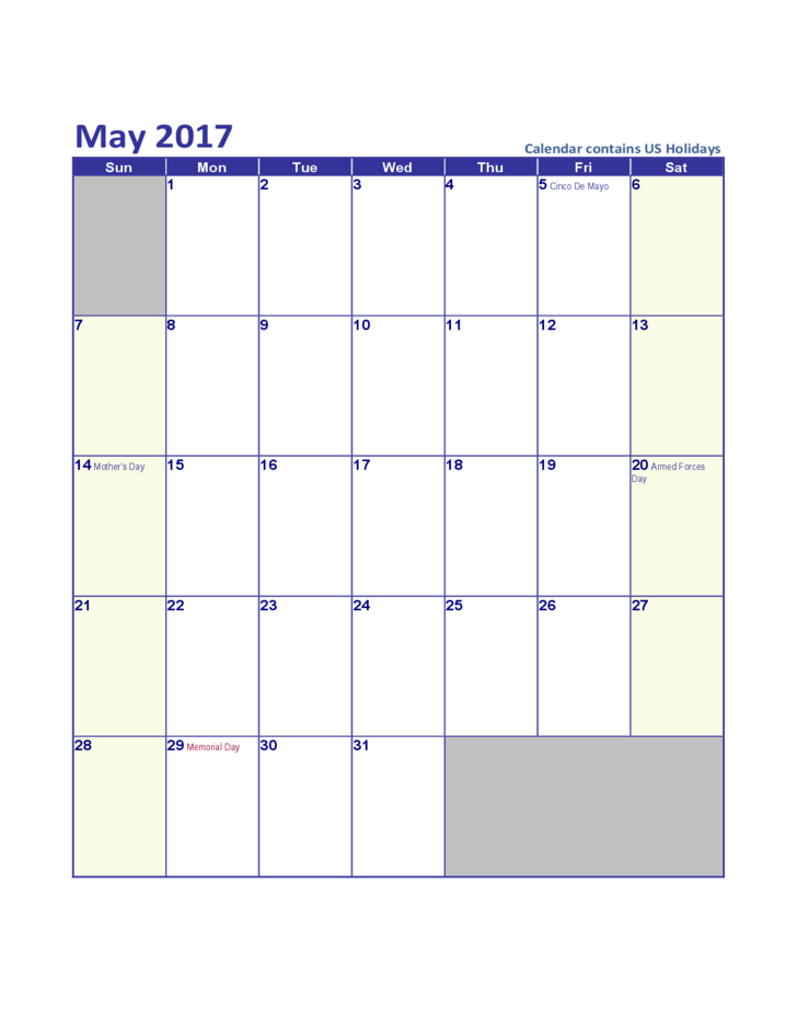 may 2017 calendar template free download. Black Bedroom Furniture Sets. Home Design Ideas