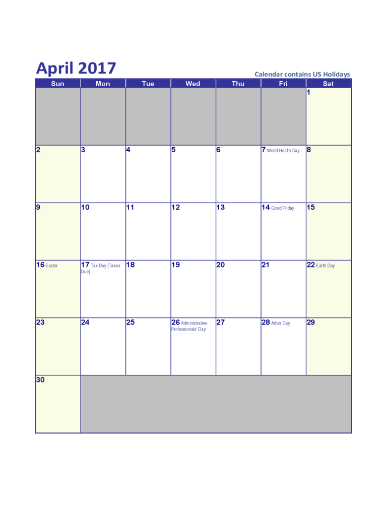 April 2017 US Calendar with Holidays