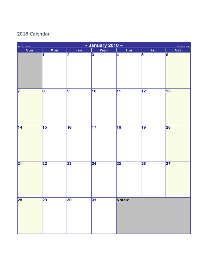 2018 Blank Calendar Free Download