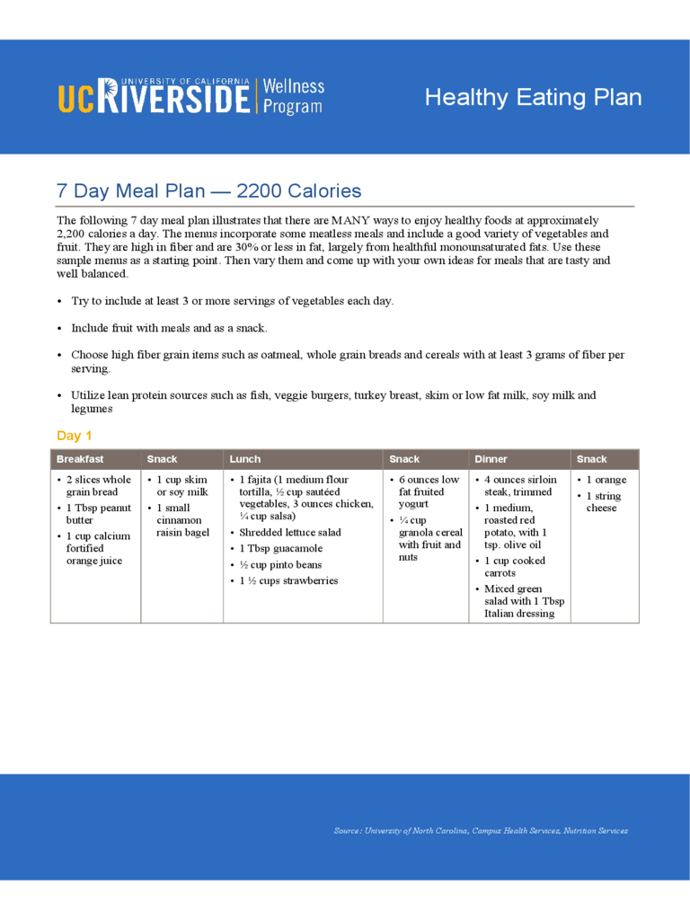 7 days diet chart 5 free templates in pdf word excel for General motors diet pdf