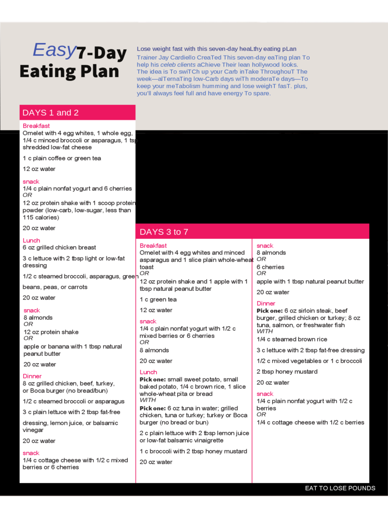 7 days diet chart 5 free templates in pdf word excel download easy 7 day eating plan nvjuhfo Image collections