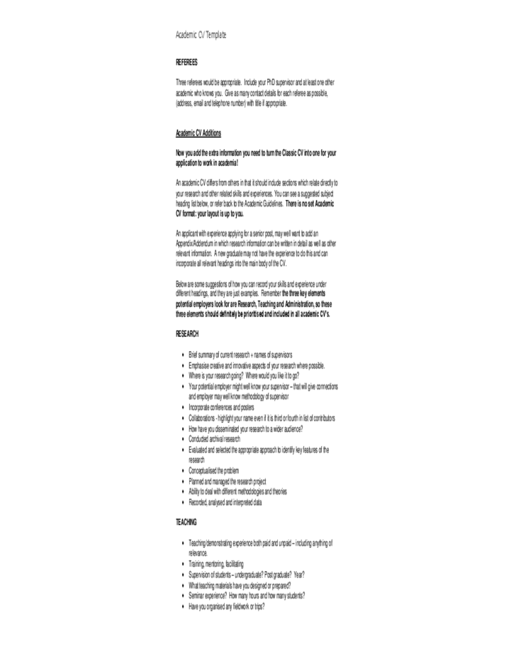 detailed academic cv template free download detailed academic cv template