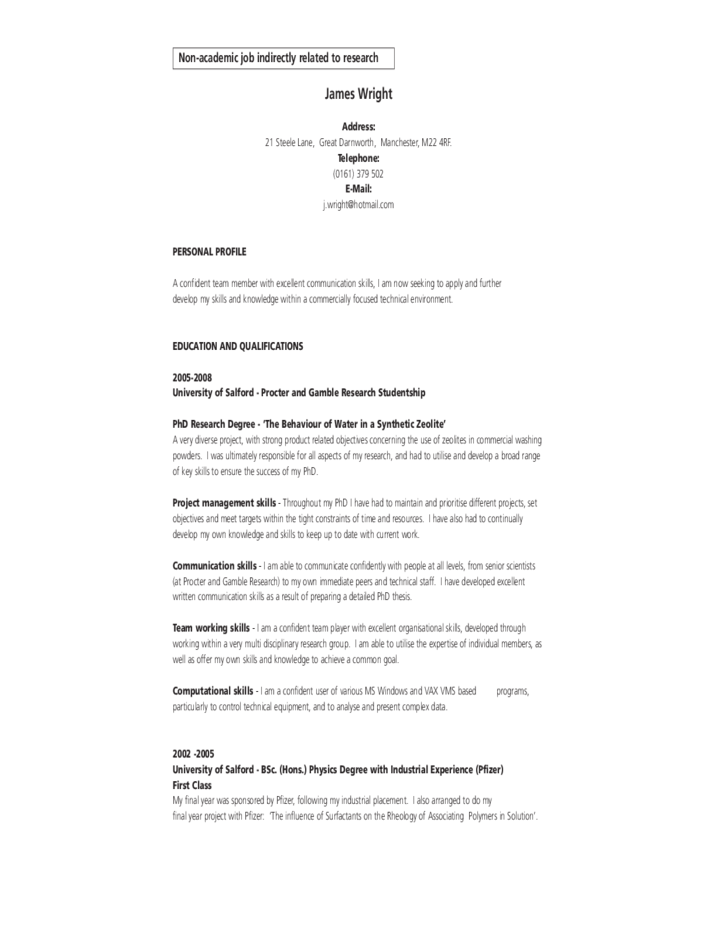 example of academic cv free download