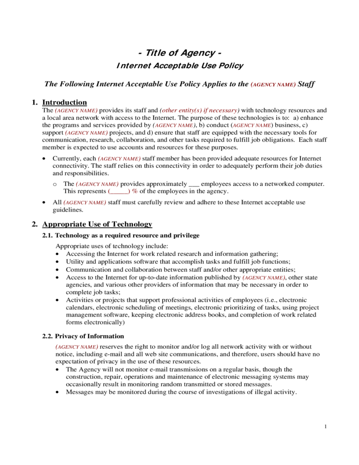 1 internet acceptable use policy