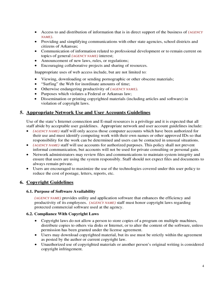4 internet acceptable use policy