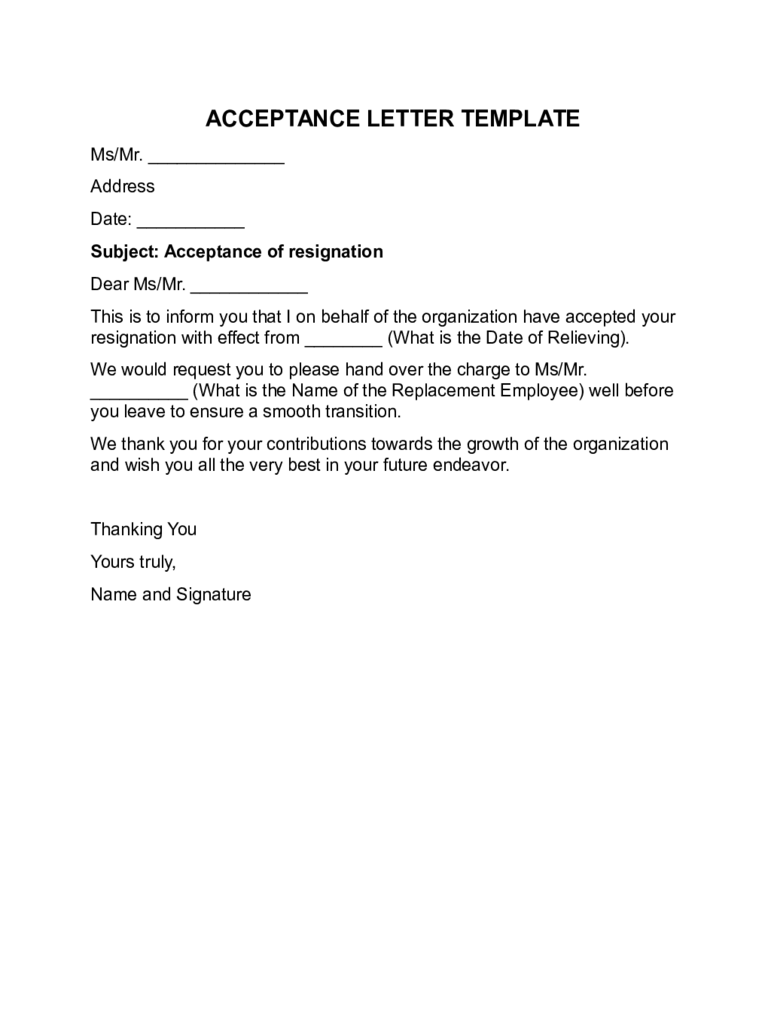 Acceptance Letter Templates   Free Templates In Pdf Word Excel