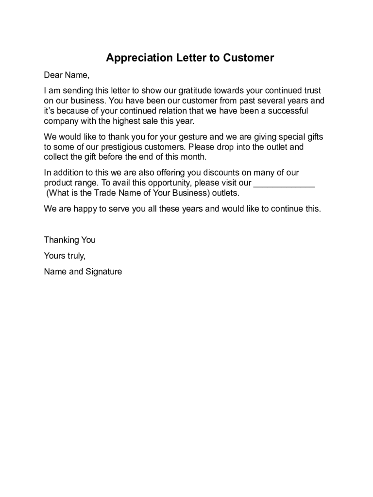 Appreciation Letter to Customer Sample
