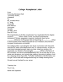 College Acceptance Letter Sample Free Download