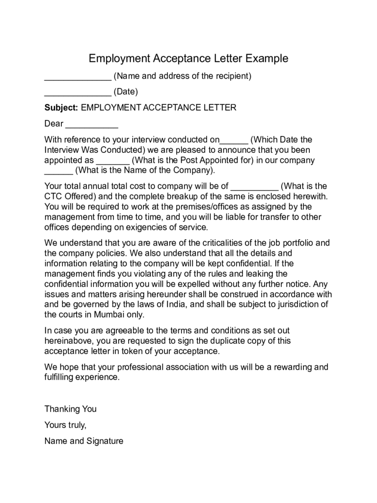 acceptance letter templates 8 free templates in pdf word excel