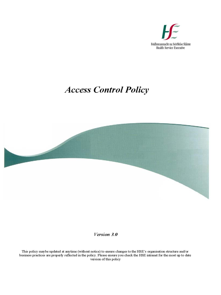 Standard Access Control Policy Template