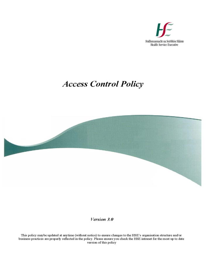 Standard Access Control Policy Template Free Download - Access control policy template