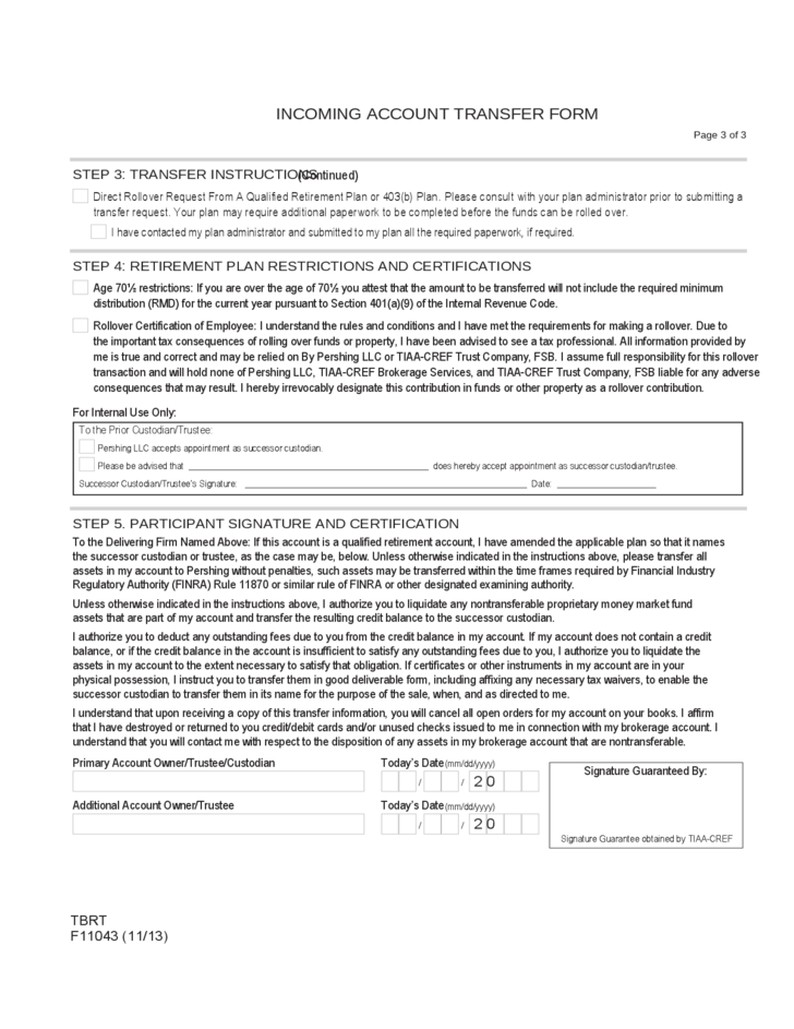 Incoming Account Transfer Form Instructions