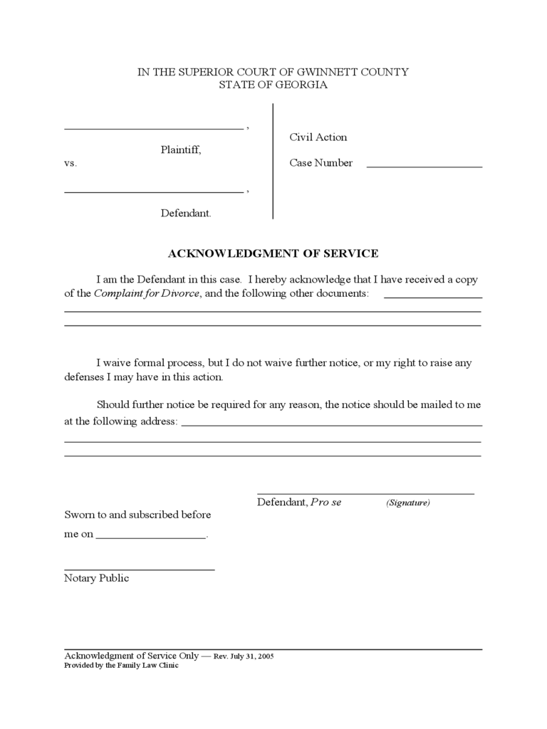 Acknowledgement of Service Form - Georgia