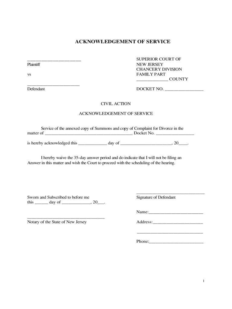 Acknowledgement Of Service Form   New Jersey Free Download