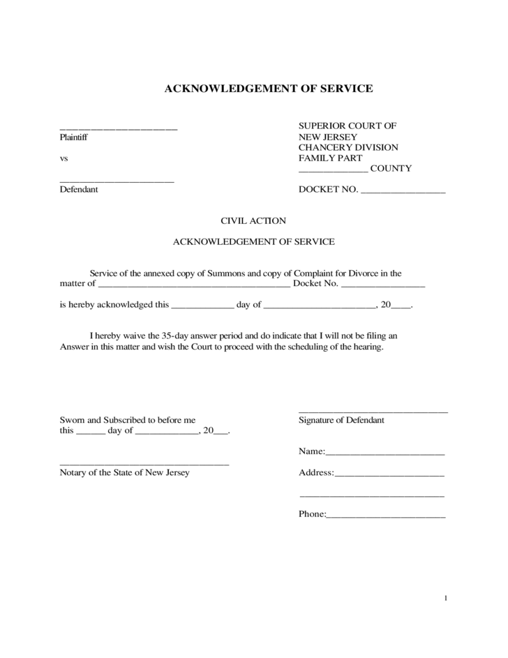 acknowledgement of service form