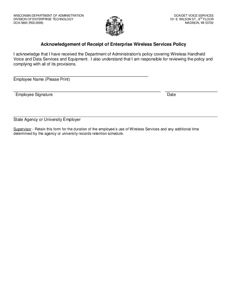 Acknowledgement of Receipt of Enterprise Wireless Service Policy - Wisconsin Free Download