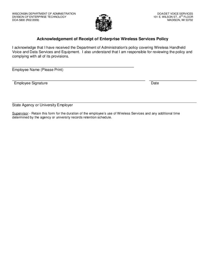 acknowledgement of receipt of enterprise wireless service