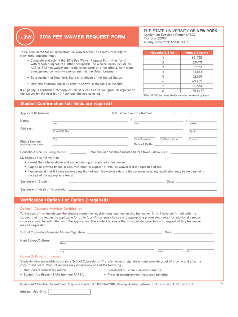 ACT Fee Waiver Form - New York