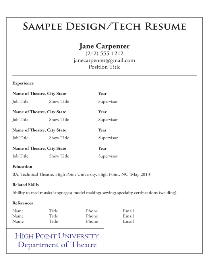 2 acting resume template high point university - Actor Resume Template