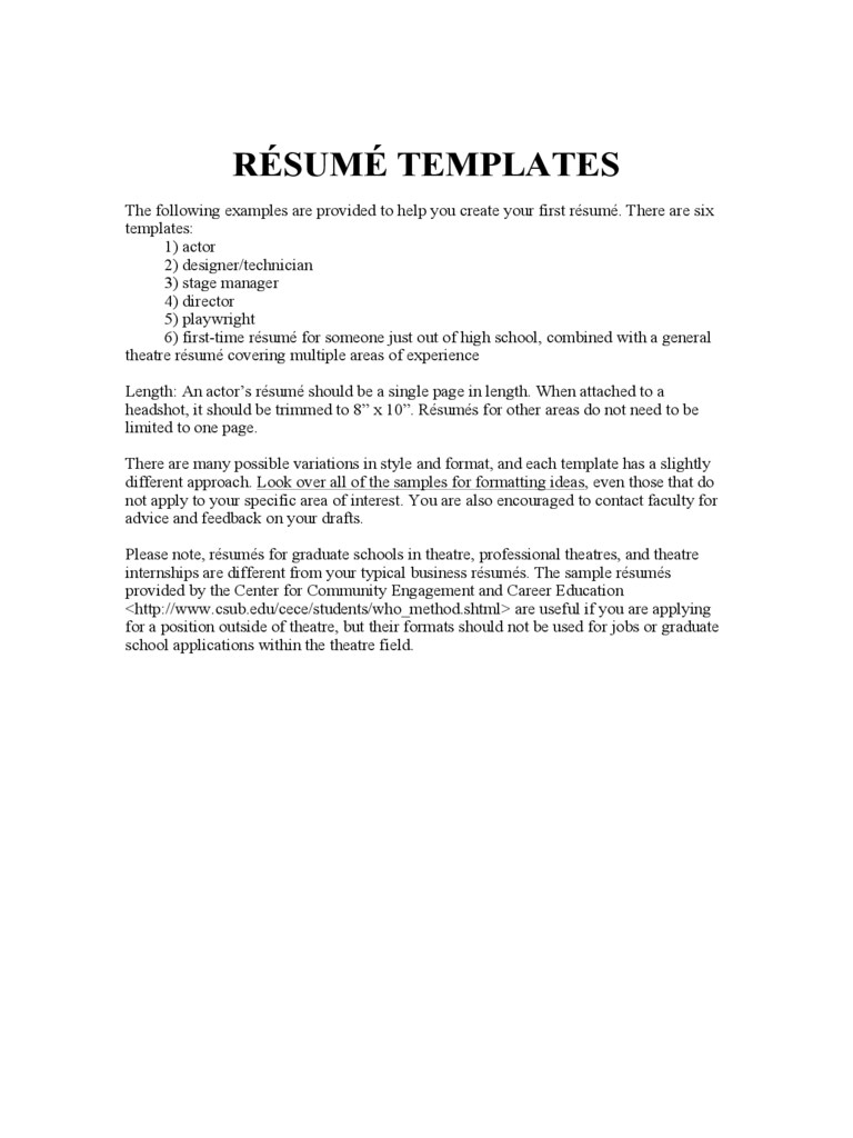 100 Acting Resume Template Download Free Of Us Job Theatre