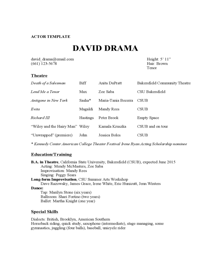 Dance Resume Sample Job Resume Sample Acting Experience Dancer For Format  Acting Resume Experience Actor Template  Resume Examples Free Download