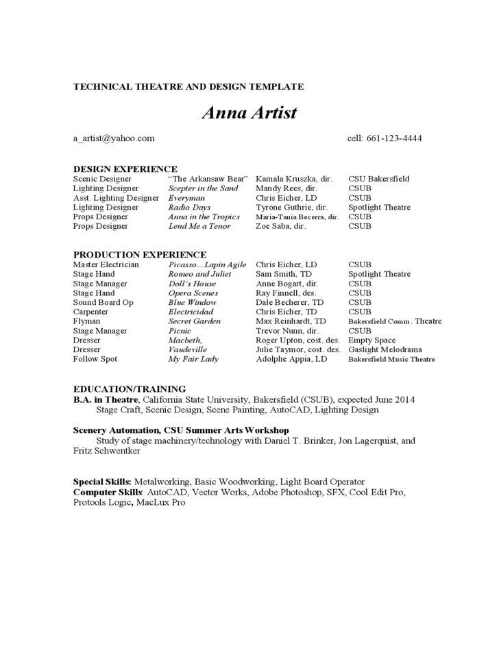 acting resume example free download