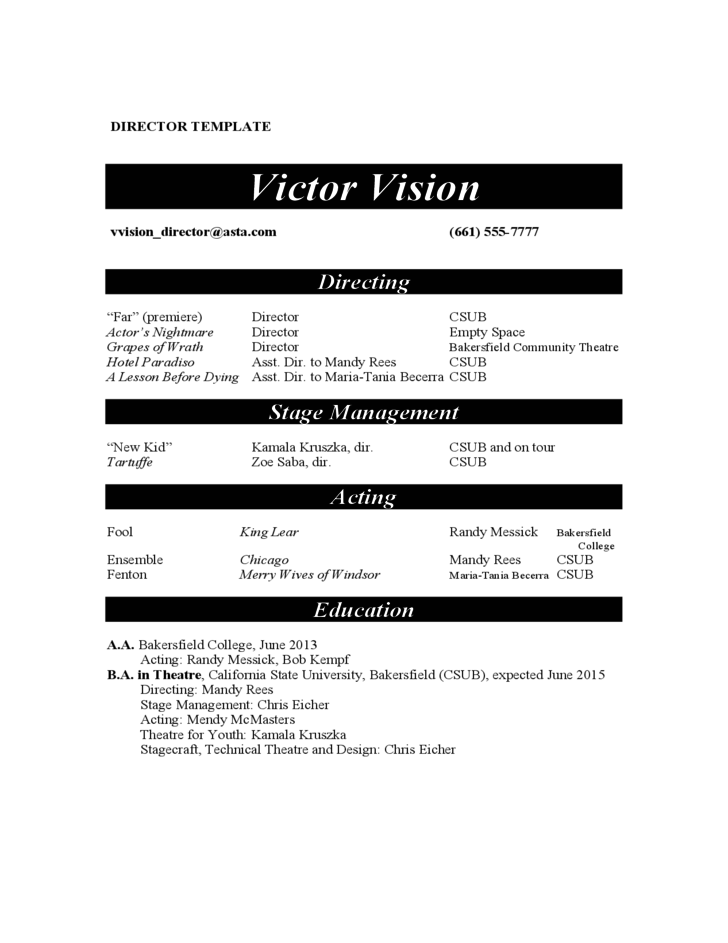 actor resume examples