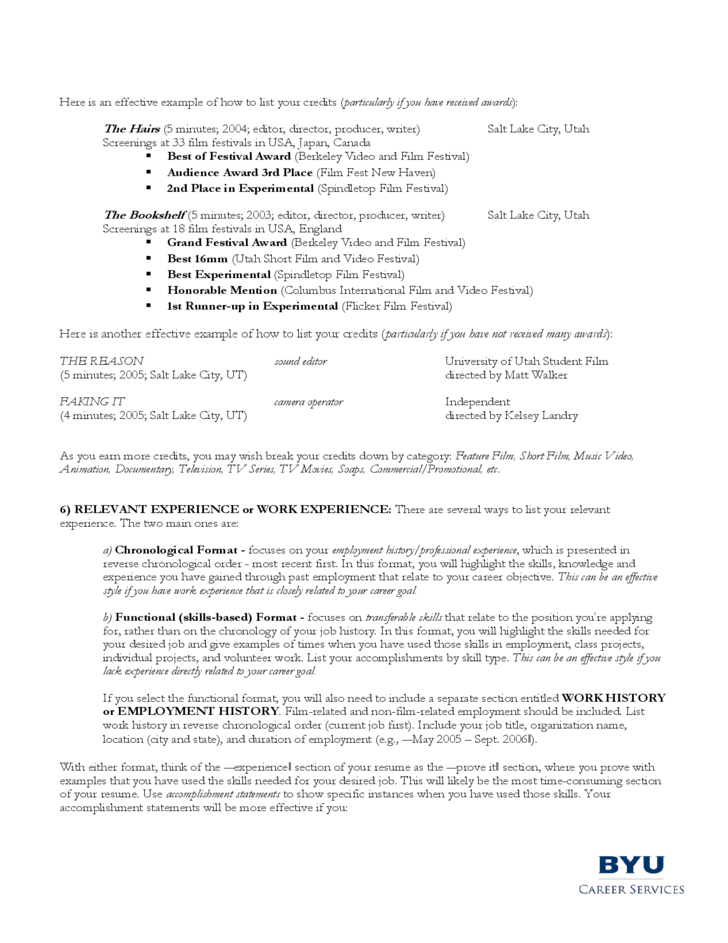 guidelines for a filmmaker s resume free