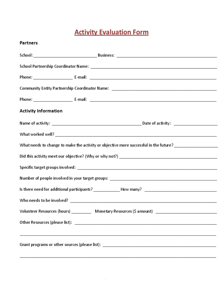 Activity Evaluation Form Sample