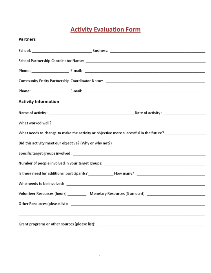 activity evaluation form sample free download