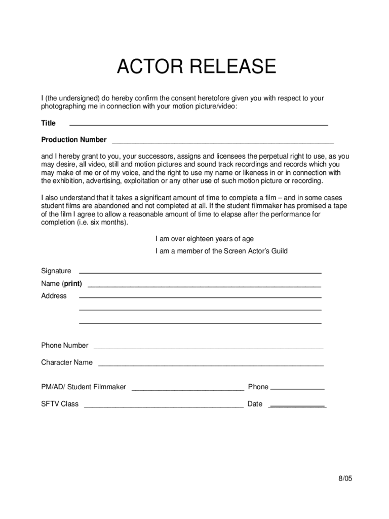 Actor Release Form 2 Free Templates In Pdf Word Excel