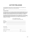 Simple Actor Release Form Free Download