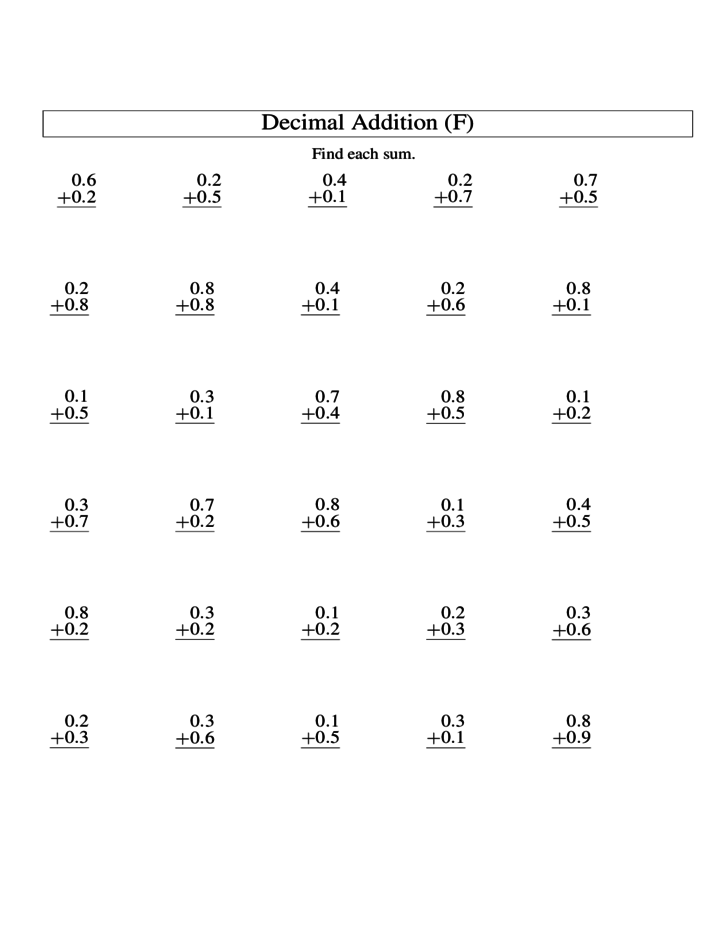 math worksheet : adding decimal tenths worksheets  the best and most comprehensive  : Adding Decimals Worksheets