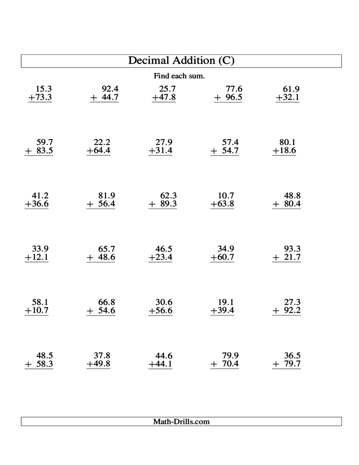 Addition Of Decimals Worksheet Ks2 adding and subtracting – Addition of Decimals Worksheets