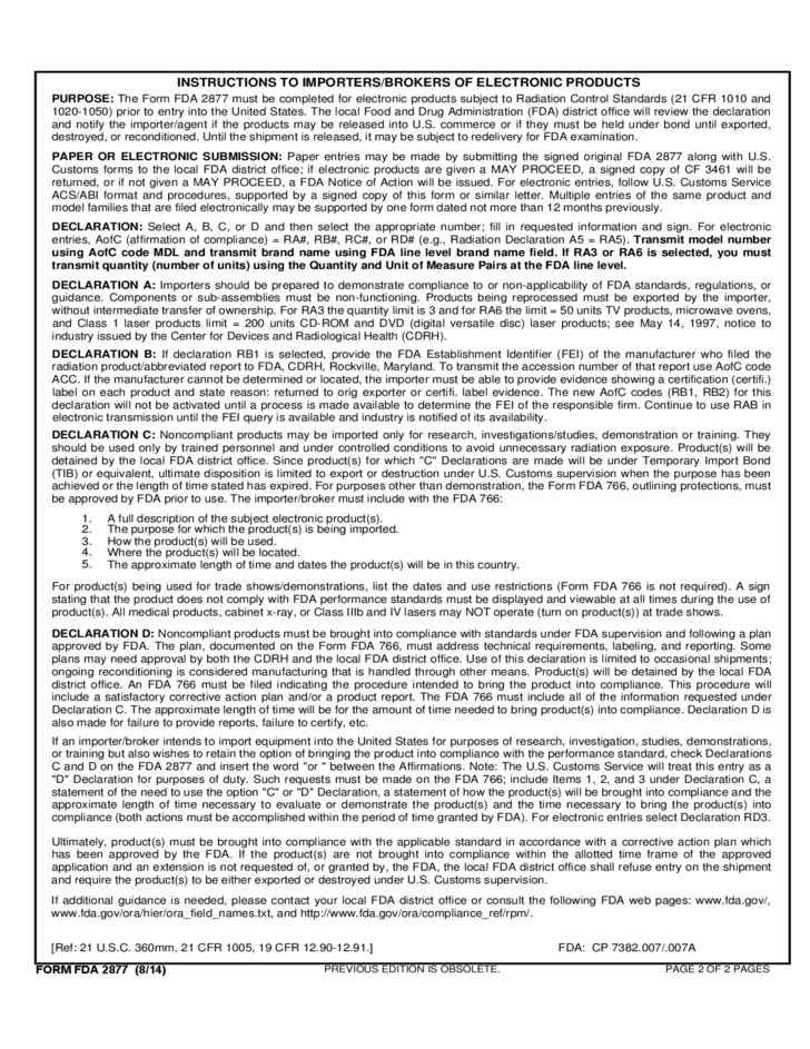 Form FDA 2877 - Declaration for Imported Electronic Products Free ...