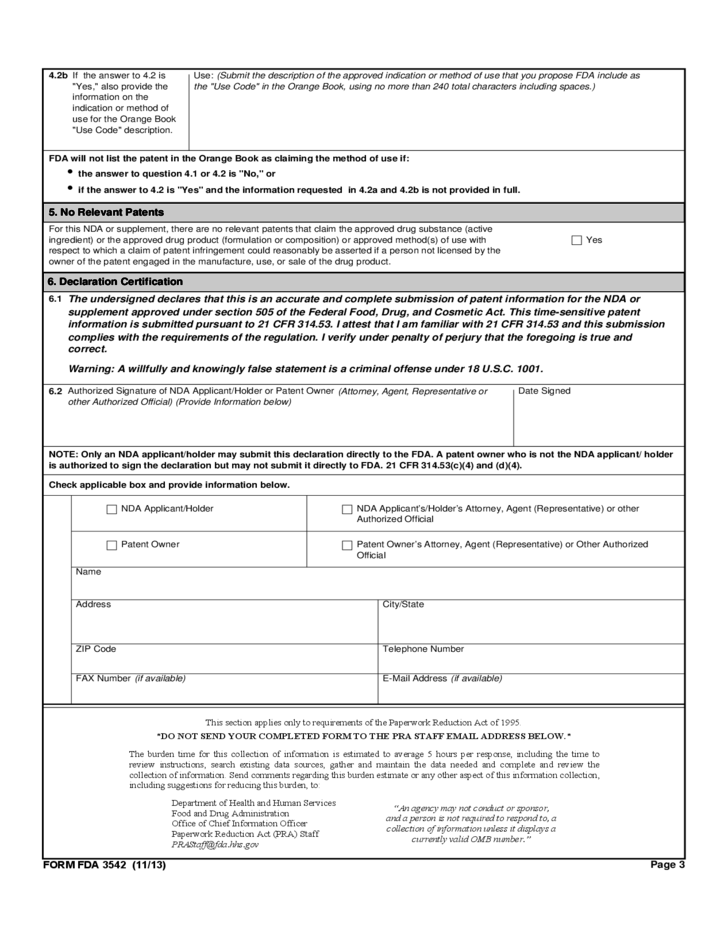 Form fda 3542 patent information submitted upon after approval of an nda or supplement free for Nda free form