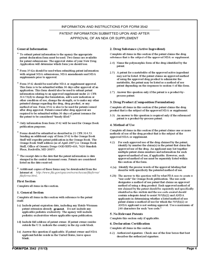 Form FDA 3542 - Patent Information Submitted upon/after Approval ...