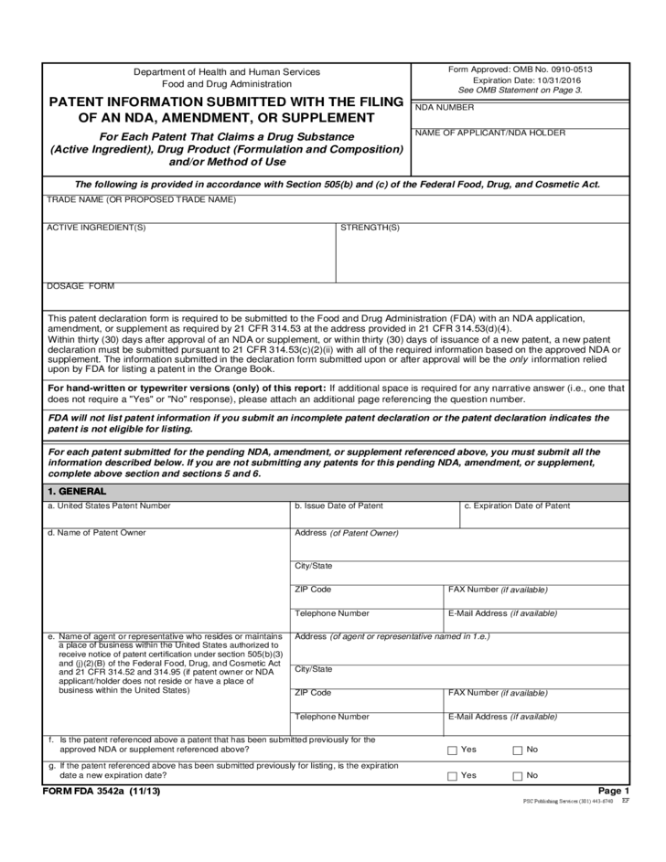 Form FDA 3542a Patent Information Submitted with Filing of NDA – Free Nda Forms
