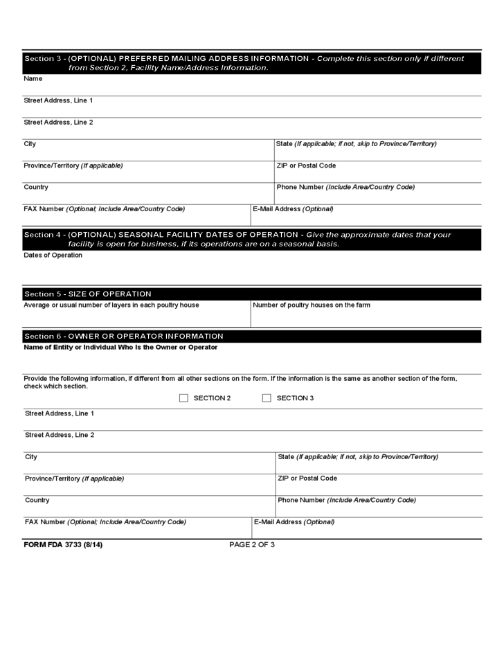 Form FDA 3733 - Shell Egg Producer Registration Free Download