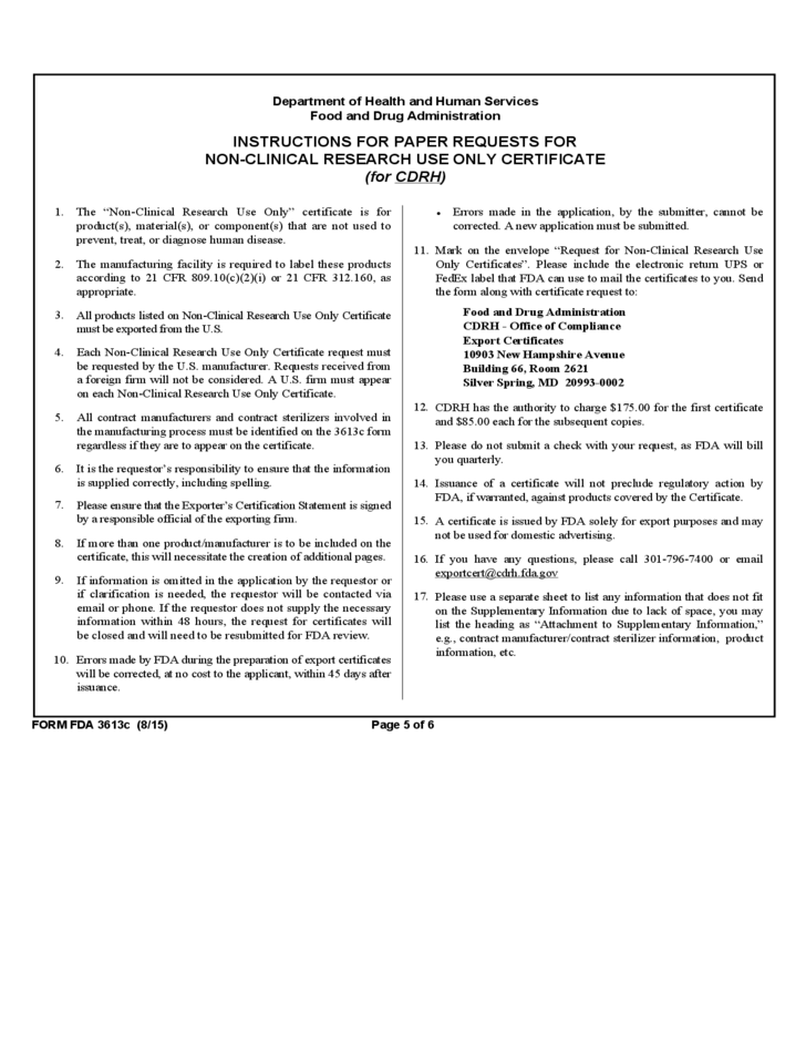 Form Fda 3613c Supplementary Information Non Clinical Research Use