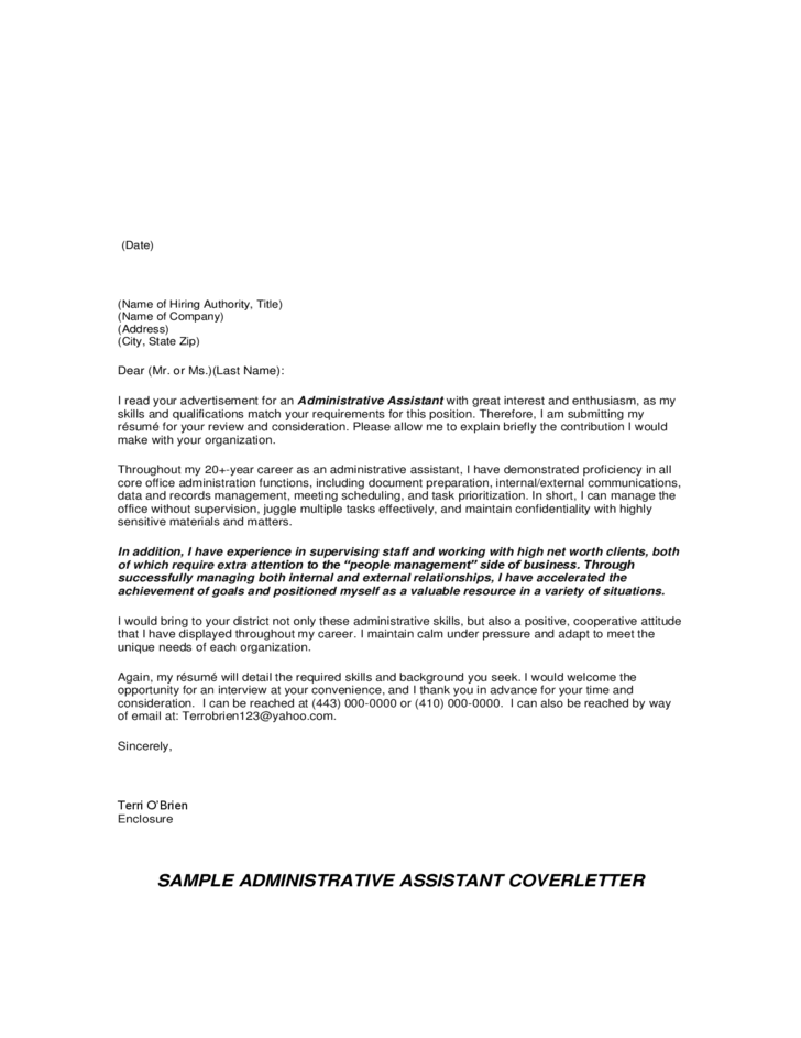 email cover letter for administrative assistant position