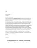 Cover Letter Sample for Administrative Assistant Free Download