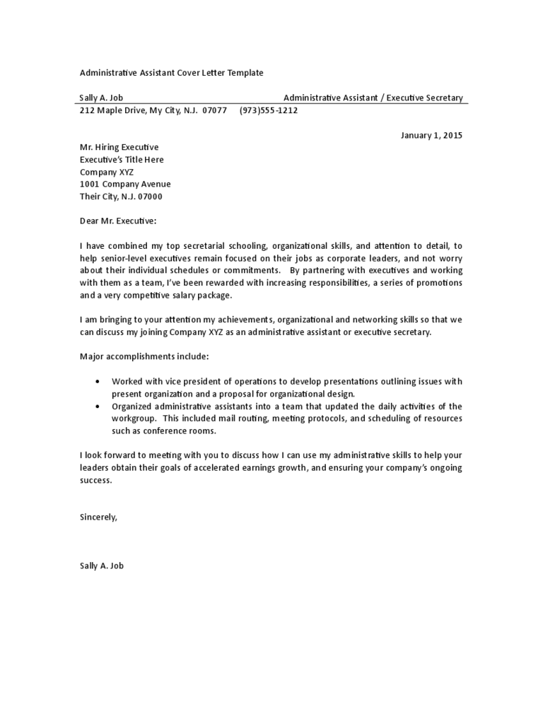 Administrative assistant cover letter examples 3 free for Covering letter example for administrative position