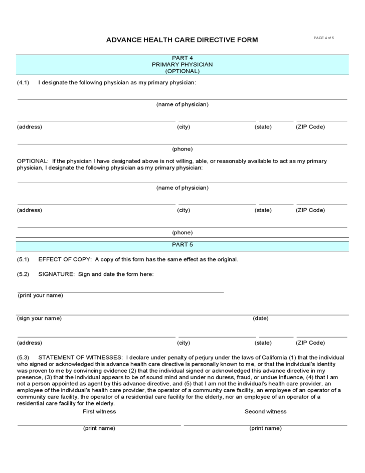 Advance Health Care Directive Form - California Free Download