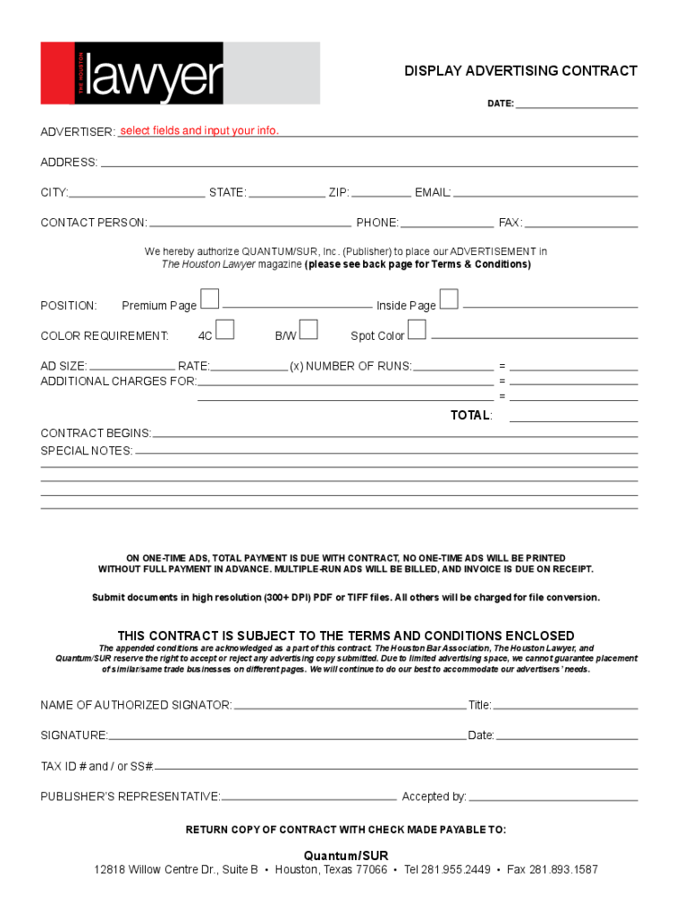 Houston Advertising Contract Template