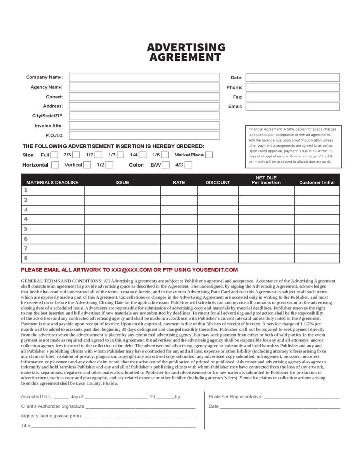 Advertising Contract Form