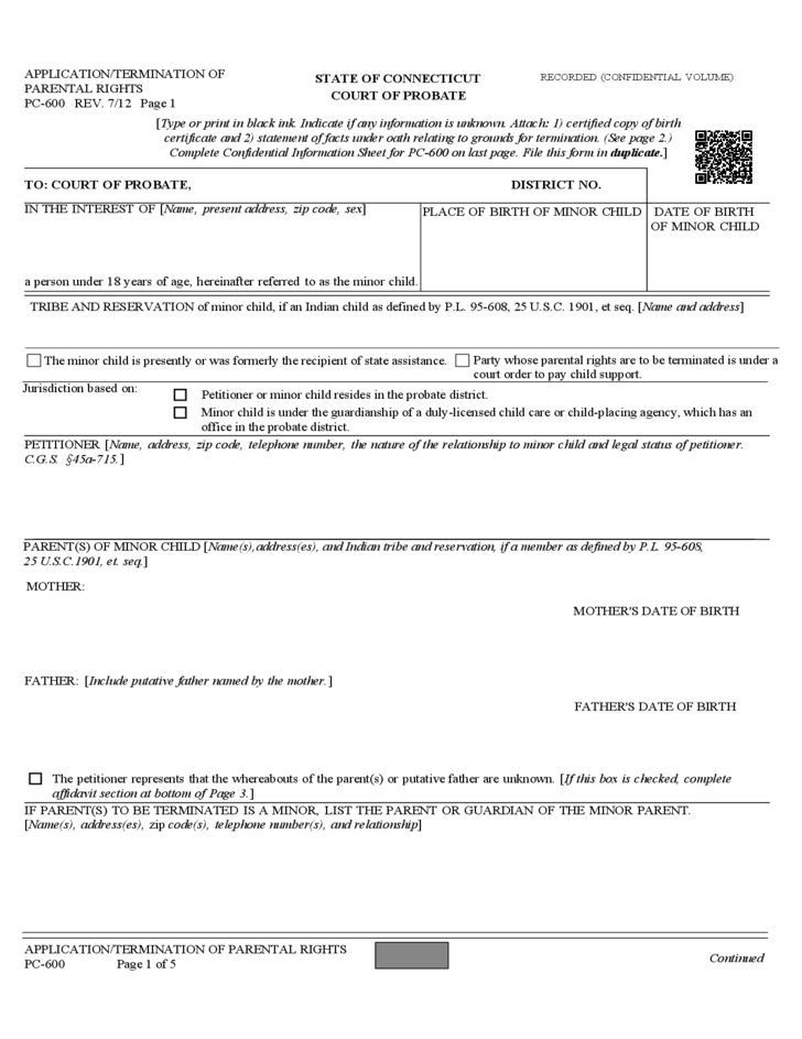 Connecticut Affidavit Of Birth Form Free Download