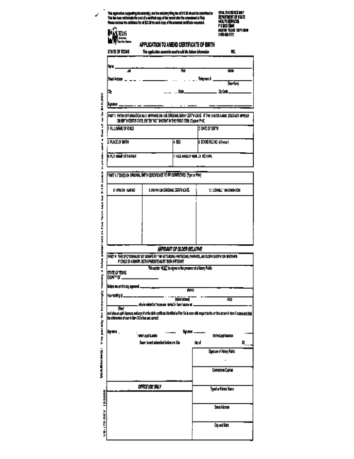 texas application to amend certificate of birth form free download