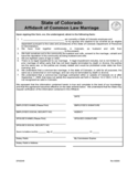 Affidavit of Common Law Marriage Form - Colorado Free Download